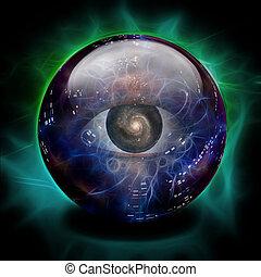 sfera cristallo, occhio, galassia