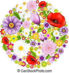 sfera, da, fiori