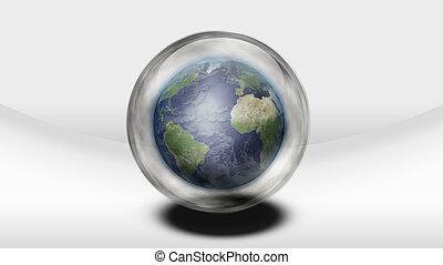 sfera, dentro, vetro, terra