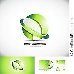 sfera, disegno, logotipo, verde, anello, 3d