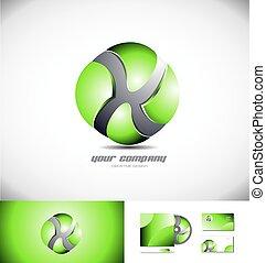 sfera, disegno, logotipo, verde, icona, 3d