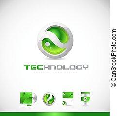 sfera, disegno, logotipo, verde, icona, tecnologia, 3d