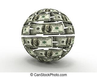 sfera, dollaro, isolato, fondo., bianco, 3d