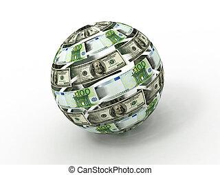 sfera, dollaro, isolato, fondo., bianco, euro, 3d