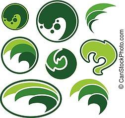 sfera, estratto verde, foglia, logo.