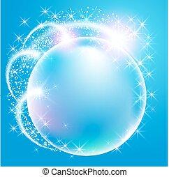 sfera, fireworks, circondato, stelle, sfavillante