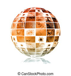 sfera, globale, tecnologia, mondo, media