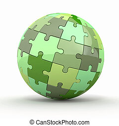 sfera, globo, puzzles., o, 3d