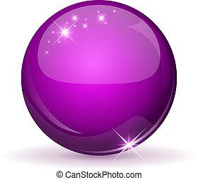 sfera, magenta, isolato, white., lucido
