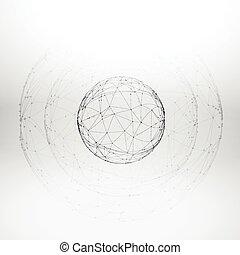 sfera, maglia, wireframe