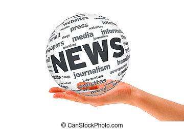 sfera, notizie, 3d, tenendo mano