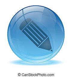 sfera, penna, icona, 3d, vetro