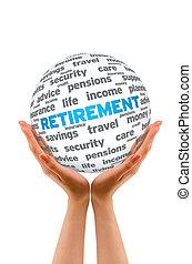 sfera, pensionamento, 3d, tenere mani