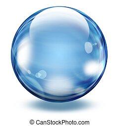 sfera, trasparente, vetro, realistico