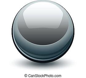 sfera, vettore, metallico