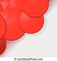 sfere, 3d, lucido, fondo, rosso