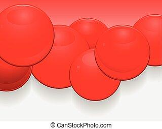 sfere, 3d, lucido, paesaggio, rosso