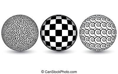 sfere, astratto, tre