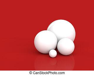 sfere, bianco rosso, fondo, 3d