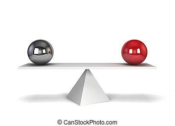 sfere, equilibrio, due