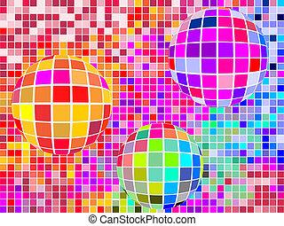 sfere, quadrato, mosaico