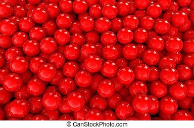 sfere, sfondo rosso, 3d