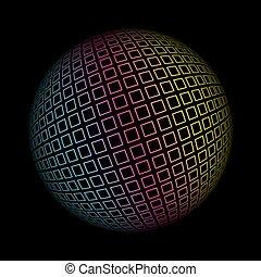sferico, colorato, pattern., illustrazione, vettore, fondo, geometrico, 3d