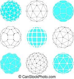 sferico, set, punti, oggetti, creato, pentagons., globi, wireframe, linee, 3d, poly, sfaccettatura, triangoli, collegato, prospettiva, shapes., geometrico, squadre, vettore, trigonometria, basso