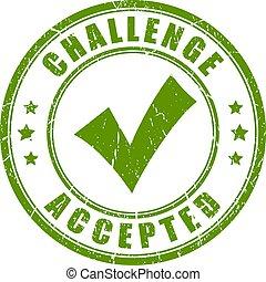 sfida, accettato, francobollo, gomma