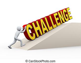 sfida, spinta, parola, 3d, uomo