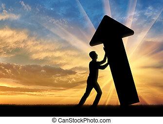 sfide, concetto, superare, affari