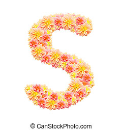 S,flower alphabet isolated on white