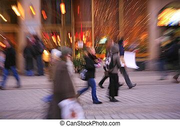 sfocato, in-camera, effetto, di, persone, città