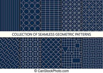 sfondi, patterns., seamless, collezione, vettore, minimalistic, geometrico