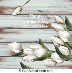 sfondi, primavera, madre, realistic., day., vettore, tulips, bianco, scheda, felice