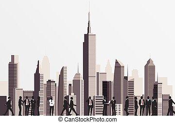 sfondo., affari persone, costruzione, silhouette, grattacielo