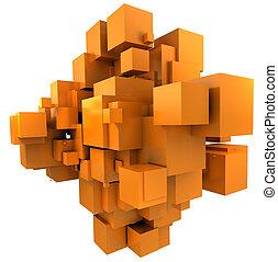 sfondo arancia, cubico