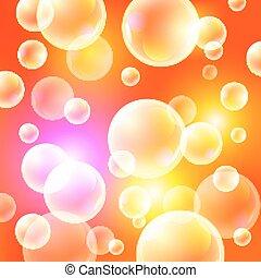 sfondo arancia, soleggiato, vettore, illustration., bolle sapone, su, uno, sfondo arancia
