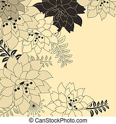 sfondo beige, floreale, elegante, fiori, contorno