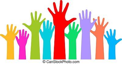 sfondo bianco, mani elevate, molti