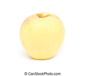 sfondo bianco, mela, giallo