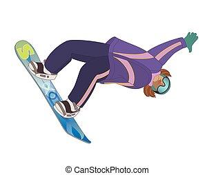 sfondo bianco, snowboarder, femmina, isolato