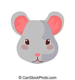 sfondo bianco, topo, carino, testa