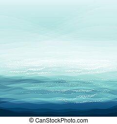 sfondo blu, astratto, creatività, illustrazione, vettore, disegno, mare, onde