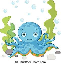 sfondo blu, colorito, illustrazione, mare, sotto, coralli, bianco, polpo