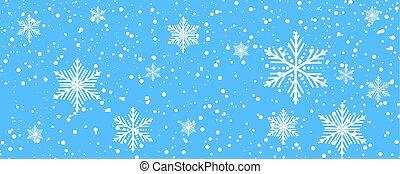 sfondo blu, con, fiocchi neve, per, inverno
