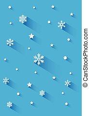 sfondo blu, con, fiocchi neve