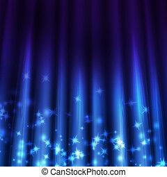 sfondo blu, con, raggi luce, lucente