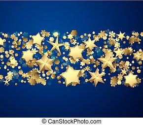 sfondo blu, con, stelle, e, snowflakes.