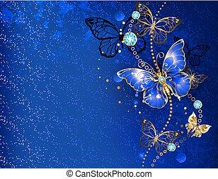 Blu Scuro Farfalla Farfalla Grigio Blu Scuro Vernice Flowers